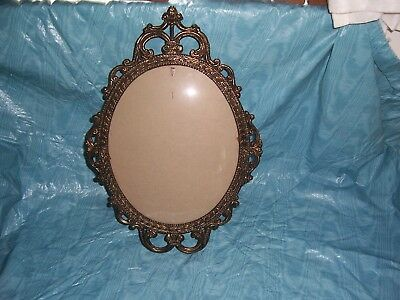 "Vintage Antique Brass Ornate Metal Oval Picture Frame Convex Bubble Glass17""x12"""