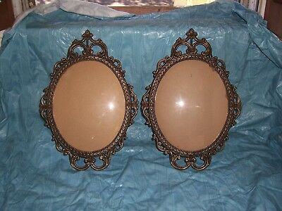 "2 VTG Antique Brass Oval Metal Ornate Picture Frames Convex Bubble Glass17""x12"""