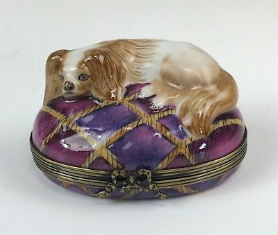 Large Hand Painted Limoges Porcelain Trinket Box, Shih Tzu / Spaniel Dog Pillow