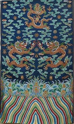 Chinese Silk Embroidery Brocade 6 Dragon 5 Claws Panel Textile Tapestry 272x73CM
