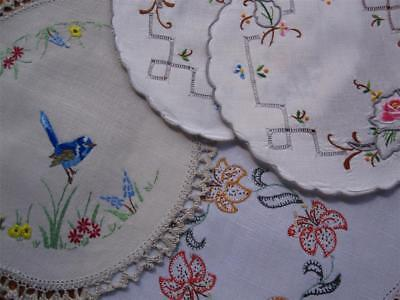 Four Hand Embroidered VINTAGE DOILIES 'Never Used'