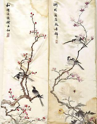 2 Old Chinese Silk Embroidery Panel Bird Calligraphy Textile Tapestry 127CM Mk