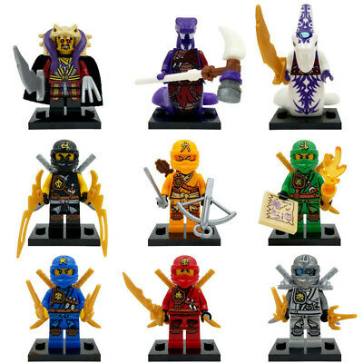 9PCS Ninjago Ninja Mini figures Lloyd Skylor Zane Pythor Jay  Bricks Toy