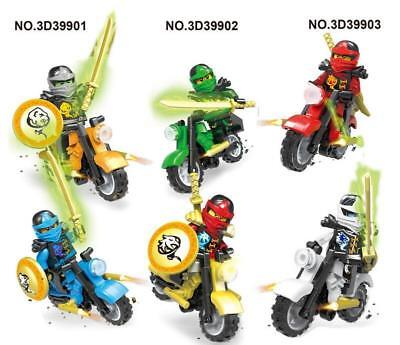 New 6PCS Ninjago Motorcycle Set Ninja Mini Figures Building Blocks Toys