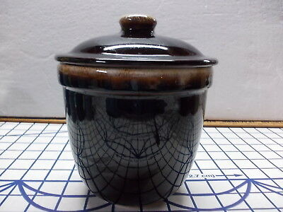 """Vtg Brown Drip Pottery 6.75"""" Lidded Candy Jar Kitchen Canister Unmarked"""