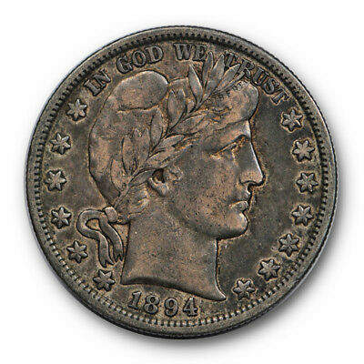 1894 S 50C Barber Half Dollar Very Fine to Extra Fine Toned Original #8894