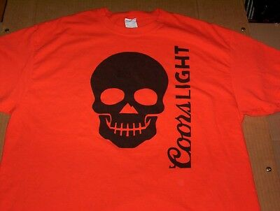 Coors Light Beer  OFFICIAL BEER of HALLOWEEN  Orange PROMO T-Shirt Adult Size XL