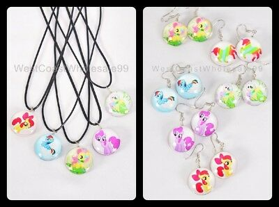 11 PC My Little Pony Double Sided Glass Fashion Necklace/Earrings Wholesale USA