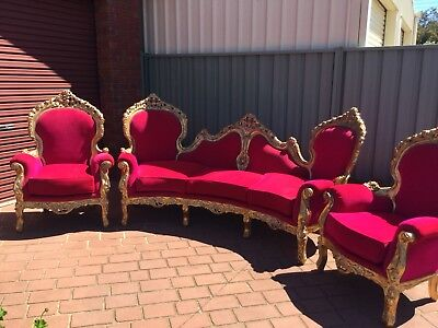 Rococo Sofa And Chairs Pink Velvet And Gilded Wood