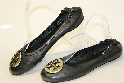 Tory Burch USED Womens 9 M Reva Leather Gold Sig Medallion Ballet Flat Shoes rr
