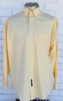 1980's Cotton fine yellow checked shirt, USA import, size 2XL
