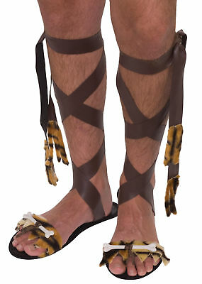 Stone Age Prehistoric Caveman Mens Sandals Shoes Adult Costume Accessory NEW