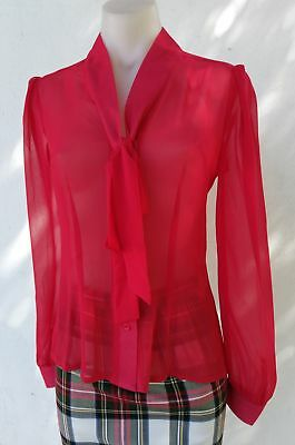 Margaret Long Sleeve Chiffon Tie Blouse in Sheer Red