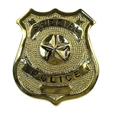Gold Metal Cowboy Sheriff Special Police Badge Western Wild West Costume