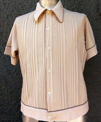 Men's 1960's Polyester knitted shirt by 'Coronet Casuals' USA, size XL