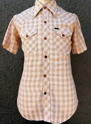 Men's short sleeve 70's checked shirt by 'Millers' size S