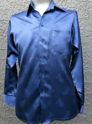 Men's1970's satin polyester Disco shirt by 'Night Moves' Gloweave size M