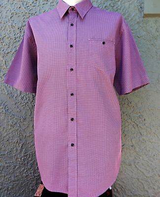 Men's 'Lichfield' Short Sleeve pink/charcoal checked shirt, size 2XL