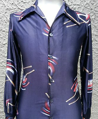 Men's 1970's Disco Shirt from USA, slim fit, navy size S