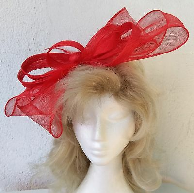 Ladies red Extra large bow style Fascinator by 'Avenel of Melbourne.