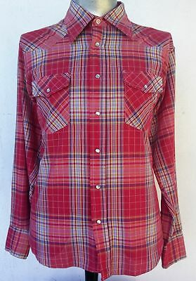 Men's red checked Western Shirt by 'Ambassador', 1970's size XXL