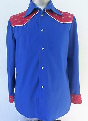Men's electric blue handmade Western Shirt, size L