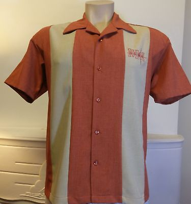 Men's Steady Bowling Shirt 'Simple Times Button Up' Rust (last one S)