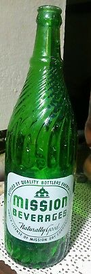 Vintage Collectable One Quart Spurgeon's Mission  Green  Glass Soda Pop Bottle