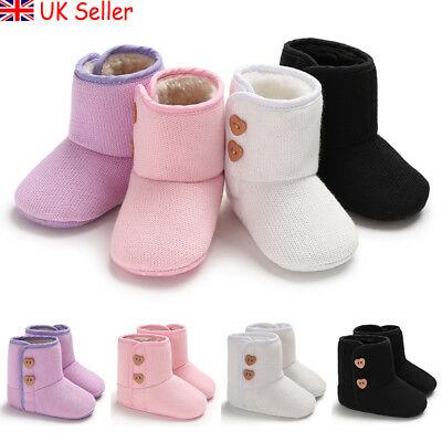 UK Baby Girls Boys Warm Snow Boots Winter Infant Booties Crib Pram Shoes Trainer