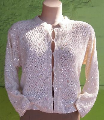 Women's 1950's cashmere all over beaded cardigan, USA import size 14