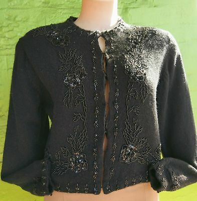 Women's 1980's Cashmere beaded cropped cardigan, USA import, size 14.