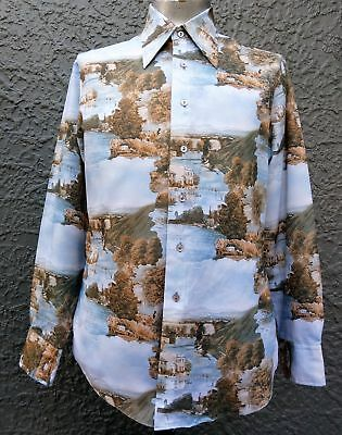 Men's 1970's disco shirt by 'Chemise et Cie' 'Afternoon at Como' size XL