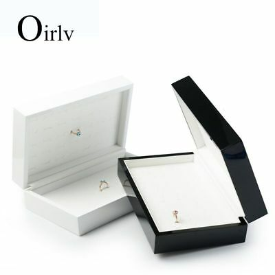 Oirlv Solid wood Jewelry Case with PU leather Rings Storage Rings Display Holder
