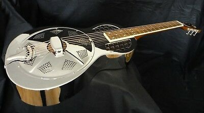 Minolian Parlour Resonator Guitar - Nickel & Chrome Plate Brass Body