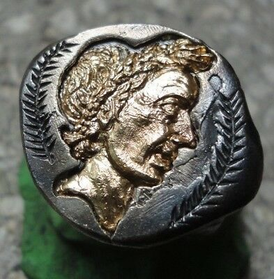 Ancient Roman Senatorial Legionary GOLD Silver ring emperor JULIUS CAESAR HUGE
