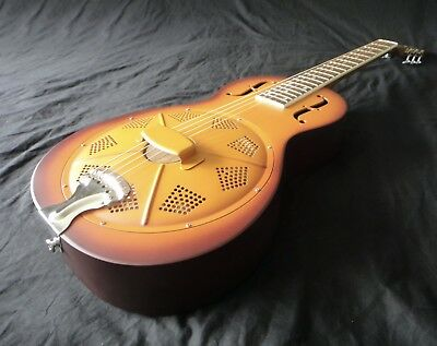 Minolian Parlour Resonator Guitar - Triolian Finish Brass Body
