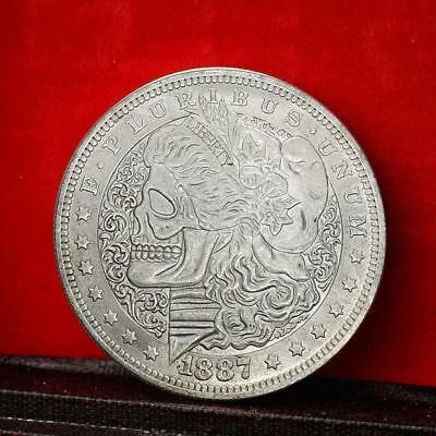 1887 Natural Skull Commemorative Round Coins Bitcoin Silver Plated Coins