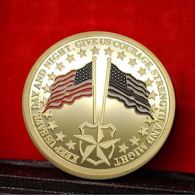 Police Flag Guard Commemorative Round Collectors Coin Bitcoin Silver Plated Coin