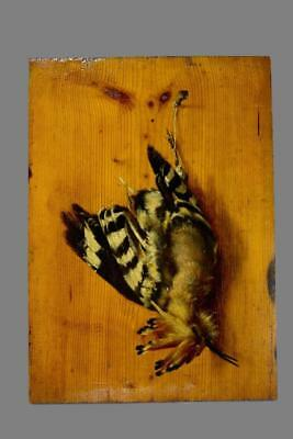 French Antique Hoopoe Bird Still Life Oil Painting on Wood Panel Fruits Hunt