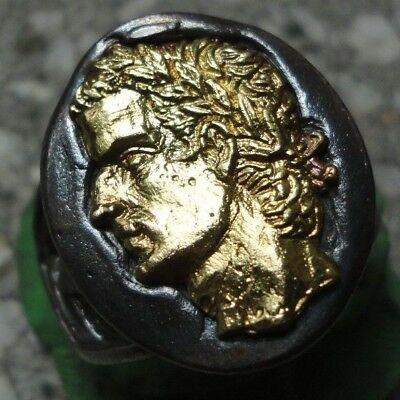 Ancient Roman Senatorial Legionary GOLD Silver ring emperor CALIGULA CAESAR