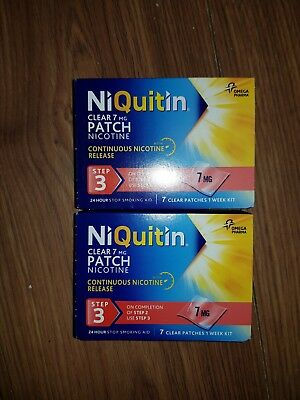 2 xNiquitin Clear 7mg Patch Step 3 One Week Kit 2 weeks worth