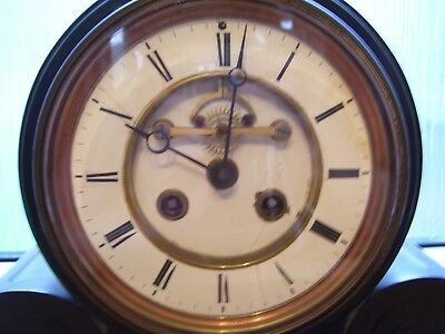 """LARGE ANTIQUE SLATE CLOCK 23.5"""" LONG x 13"""" HIGH x 6.5"""" DEEP SEE MORE ITEMS"""