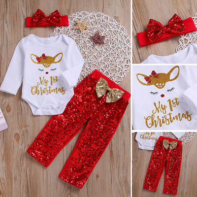 Newborn Infant Baby Girl Christmas Deer Romper Sequin Pants 3Pcs Outfits Clothes