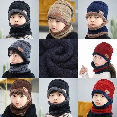 Fashion Warm Kids Winter Knitted Hat And Scarf For 3-12 Years Old Girl Boy Hats