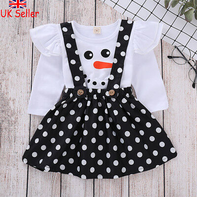UK Baby Kids Girls Christmas Outfit Clothes Snowman T-shirt Tops+Skirt Dress Set