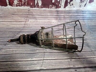 Antique Vintage Old Wooden Caged Industrial Inspection Light Lamp Upcycle