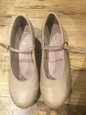 BLOCH girls beige leather TAP dancing shoes size 6 1/2- Excellent condition