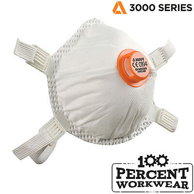 100 Alpha Solway 3030V FFP3 NR Disposable Respiratory Protection Dust Mask Valve