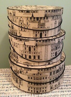 set 3 large hatboxes Italian Renaissance  buildings decoration d. 38, 36, and 33