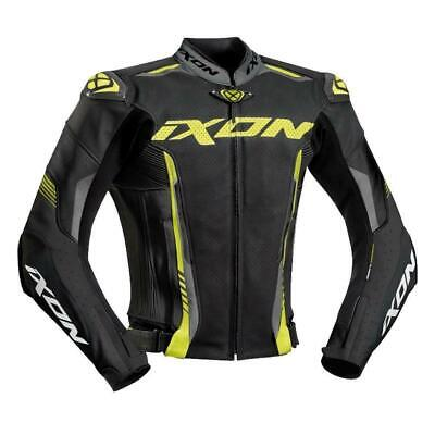Ixon Vortex 2 II Leather Motorcycle Jacket Flo Yellow/Grey Airbag Ready